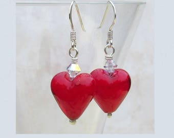 Red Murano Glass Silver Earrings UK  13mm heart earings and Swarovski Crystal  sterling silver FREE Gift wrap Venetian glass drops | wrapped
