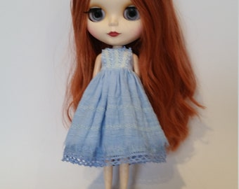 Blythe Dress – Blue - OOAK - Hand Dyed and Embroidered – Boho/vintage/shabby chic inspired.