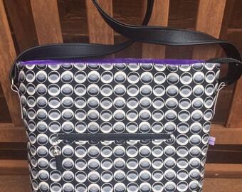 Isla Handbag, Black, Circles, OOAK