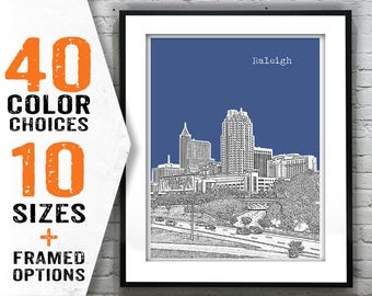 Raleigh Skyline Poster Art Print North Carolina NC Item T1412