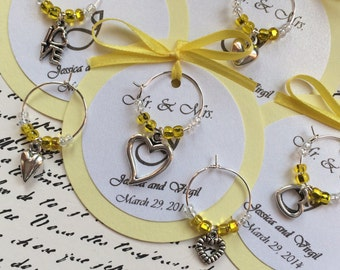 50 Custom Hearts and Love Wine Charm Favors - Weddings, Bridal Shower, Rehearsal Dinner, Anniversary, Birthday Party or Special Event