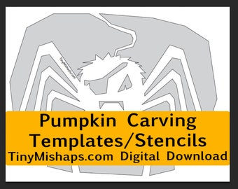 Spidery Webs: Pumpkin Carving Stencil Template Pack - print at home digital download- Spider and Spiderweb pumpkin templates for Halloween
