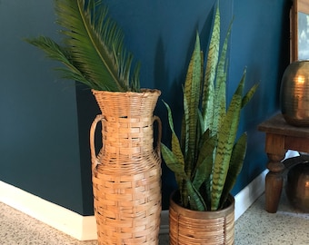 vintage tall urn shaped basket handles boho decor 27in tall oversized