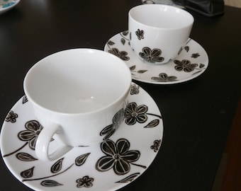 "tea cups or breakfast ""Manaé"" unique black and white porcelain"