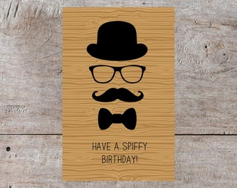 Printable Card, Funny Birthday Card, Happy Birthday, Mustache Birthday, Bowler Hat Birthday Card, Glasses Birthday, Bow Tie Birthday, Dr Who
