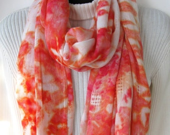 Unique Handmade Scarf for Women - Coral -  Hand Dyed Boho Scarf Shawl Spring Scarf Summer Scarf Coral white scarf womens fashion fringe