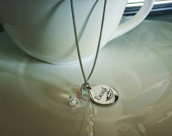 Enough Silver Feather Crystal Heart Chain