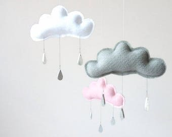 Pink and grey cloud mobile, Baby girl mobile, nursery mobile, mobiles, nursery decor, nursery, silver nursery, pink nursery, grey nursery