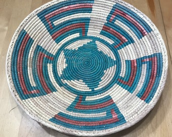 Faded Turquoise, Red and White Hand Woven Sea Grass Basket #338