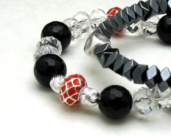 Red and Black Minimalist Beaded Bracelet Clear Crystal Black Onyx Crystal Partner Bracelet For Her Under 90 Free Gift Wrap