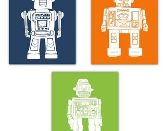 """Robot Art // Art for Kids // Robot Nursery Art // Art for Toddler Room // Robot Decor // Robots Wall Art // 3-8""""x10"""" PRINTS ONLY"""