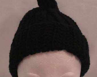 Crocheted Junior/Adult Cap, Ties At Top, Black