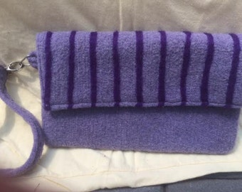 Clutch Lavender Purple Striped Hand Felted