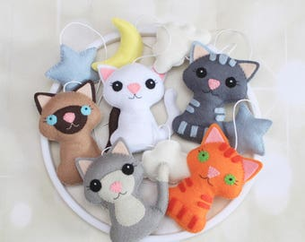 Baby mobile Cat mobile Crib mobile Nursery mobile Kitten mobile Nature mobile Neutral mobile Crib decoration cot mobile Felt baby mobile