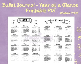 Bullet Journaling 2019 Year at a Glance Calendar Printable Sticker | MONDAY FIRST