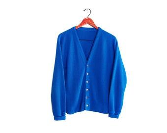 vintage cardigan / grandpa cardigan / blue cardigan / 1960s bright blue grunge acrylic cardigan Large