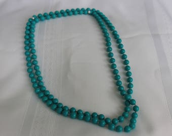 Teal Blue Sweater Necklace