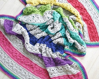 Crochet Pattern, Under the Awning Blanket, Afghan, Throw, Baby