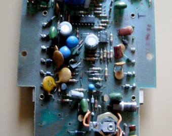 Vintage Industrial Metal Salvaged Reclaimed Circuit Boards Altered Art Art Assemblage Mixed Media 1 piece