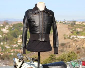 Black Vegan Motorcycle Jacket with Knit Cuffs and Waist (Vintage / 80s)