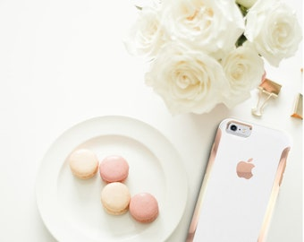 iPhone 8 Case iPhone 8 Plus Case iPhone X Elegant White with Rose Gold Detailing  Hard Case Otterbox Symmetry