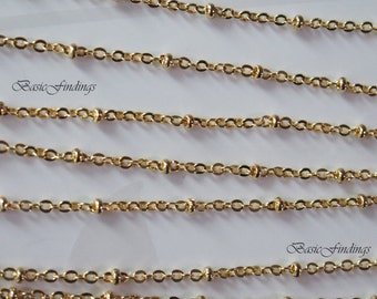 2 Meters, Gold Satellite Chain, 235SF-Ball, 16k Gold Plated Brass Chain,  Basic Fashion Jewelry Chain, Quality Chain