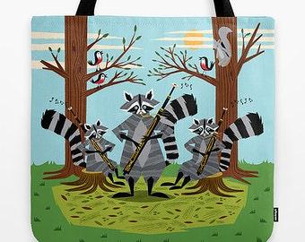 "Raccoons Playing Bassoons - 18"" x 18"" - illustrated Tote Bag - iOTA iLLUSTRATiON"