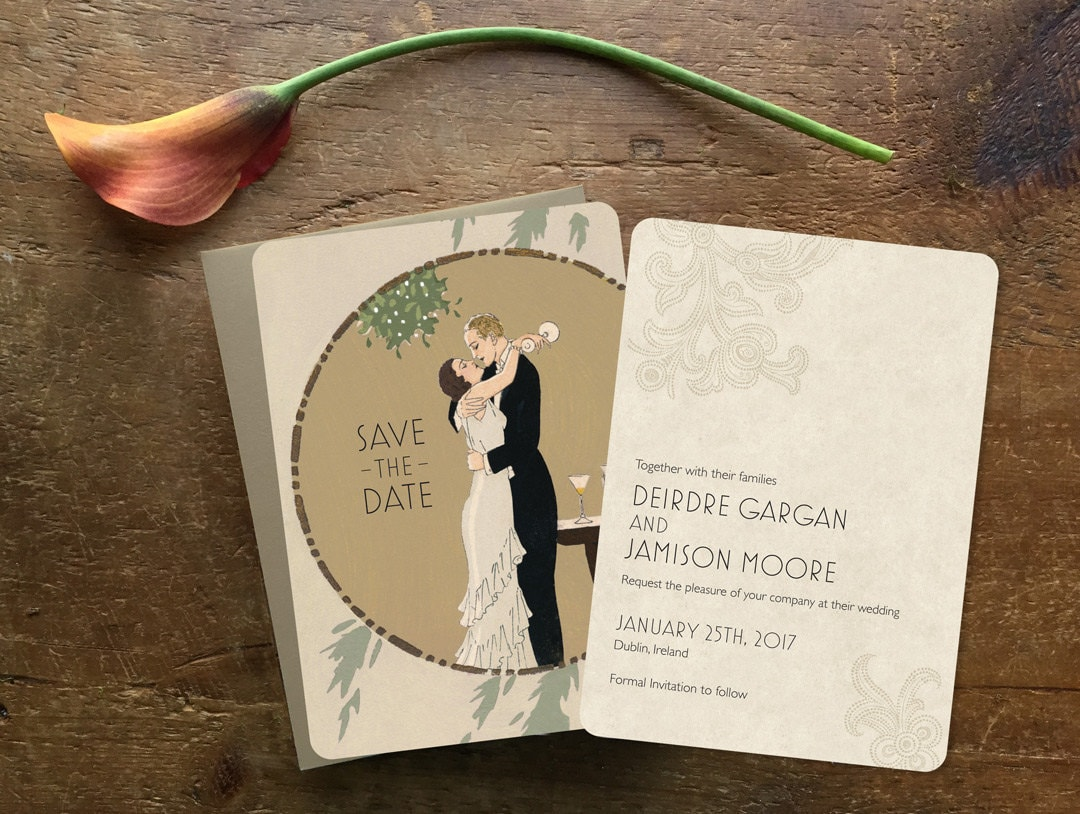 Art Deco Wedding Invitations Art Deco Save the Date Printed