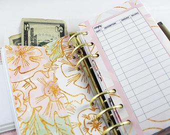 Personal Size Planner Envelopes + Pockets : Peach Foil Collection | Budget Envelopes | Set of 6 | DreamPlanRepeat