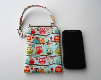Zipper Pouch for Phone with Swivel Clip ECO Friendly Padded Zipper Purse With Clip Blue Flapper Owls CHOOSE SIZE