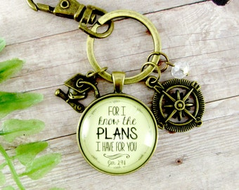 Graduation Gift For I Know the Plans I Have For You Jeremiah 29 11 Keychain Teen Christian Jewelry Compass Key Chain Graduate Tassel Charm