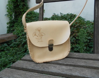 leather flap bag handmade convertible with ginkgo biloba pattern