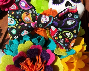 Day of The Dead Dog / Cat Bowtie