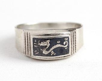 Retro Dragon Ring - Vintage 950 Silver Siam Niello Figural Statement - 1940s Thailand Mythical Serpent Size 12 1/4 Black Men's Rare Jewelry