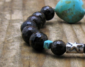 Turquoise Sterling Silver Beaded Bracelet, Boutique Wearable Art, Campo Frio Turquoise, For Her Under 350