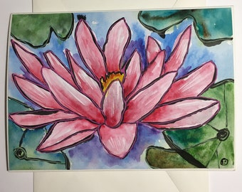 Pink Waterlily Flower Hand-painted Watercolor Notecard with Original Painting, Handmade Art Card with Envelope