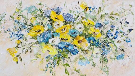 Blau grau abstrakten Blumen gelb weiß Beige Ölgemälde Blumen