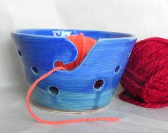 Blue and Aqua Yarn Bowl for Knitting and Crocheting