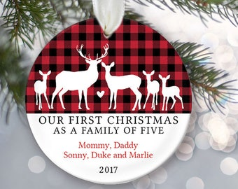 Deer Family of five Deer Ornament -Family of 5 Personalized Christmas Ornaments  - Farmhouse Christmas Buffalo Check OR845