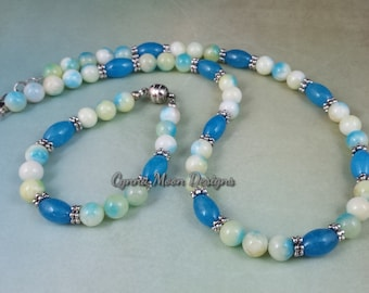 Mixed Dyed Jade Necklace & Bracelet Set