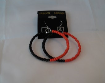Orange and Black Hoop Earrings