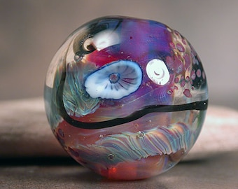 Lampwork Glass Focal Bead, Round Marble-Like Focal Bead, Divine Spark Designs, SRA