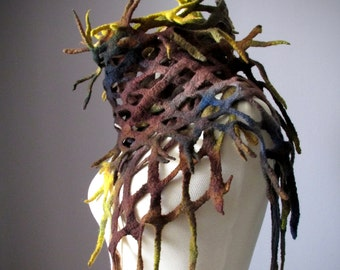 Felt scarf Enchanted, Super fine Merino wool, Roots and Branches scarf by VitalTemptation, hand painted, Performer scarf, Woodland character