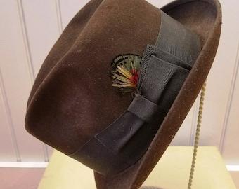 Vintage Chocolate Brown Fur Felt Trilby Fedora Hat, Adam Premier, ca 1950s