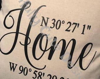 Home Coordinates Latitude Longitude Address Pillow Cover Pillow