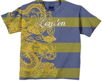 Toddler Boys T-Shirt, Personalized Striped Dragon Shirt