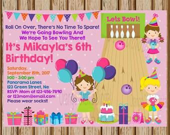 "Girls Bowling Birthday Invitations- Bowling Invitations- Bowling Birthday- Girls Birthday Party- 5"" x 7"" size- Digital Item- Print at Home"