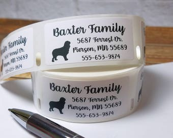 """1"""" x 2"""" Personalized Dog Address Labels, Dog Mailing Labels, Dog Breed Labels, Dog Lover Labels, Cocker Spaniel Roll Labels, Dog Stickers"""