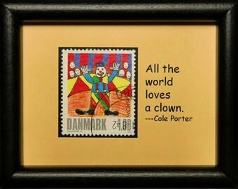 Circus Clowns, Denmark -Handmade Framed Postage Stamp Art 3131W