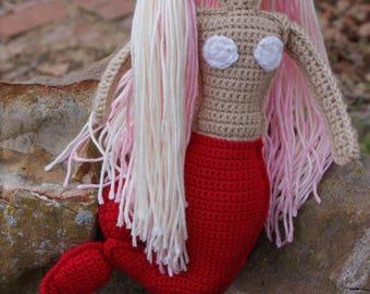 Free Shipping! Plushy Mermaid, Children's toy, Cute plush toy, Stuffed toy, Cuddly mermaid, Handmade, Child's birthday gift